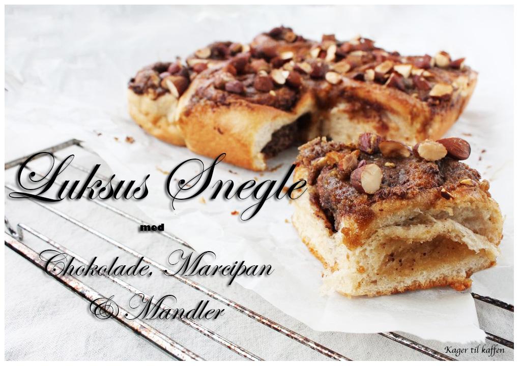 Luksus snegle med chokolade marcipan og mandler