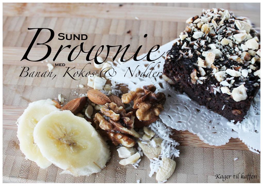 Sund Brownie med Banan, kokos og nødder