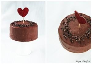 Chokoladekage med chokolade creme