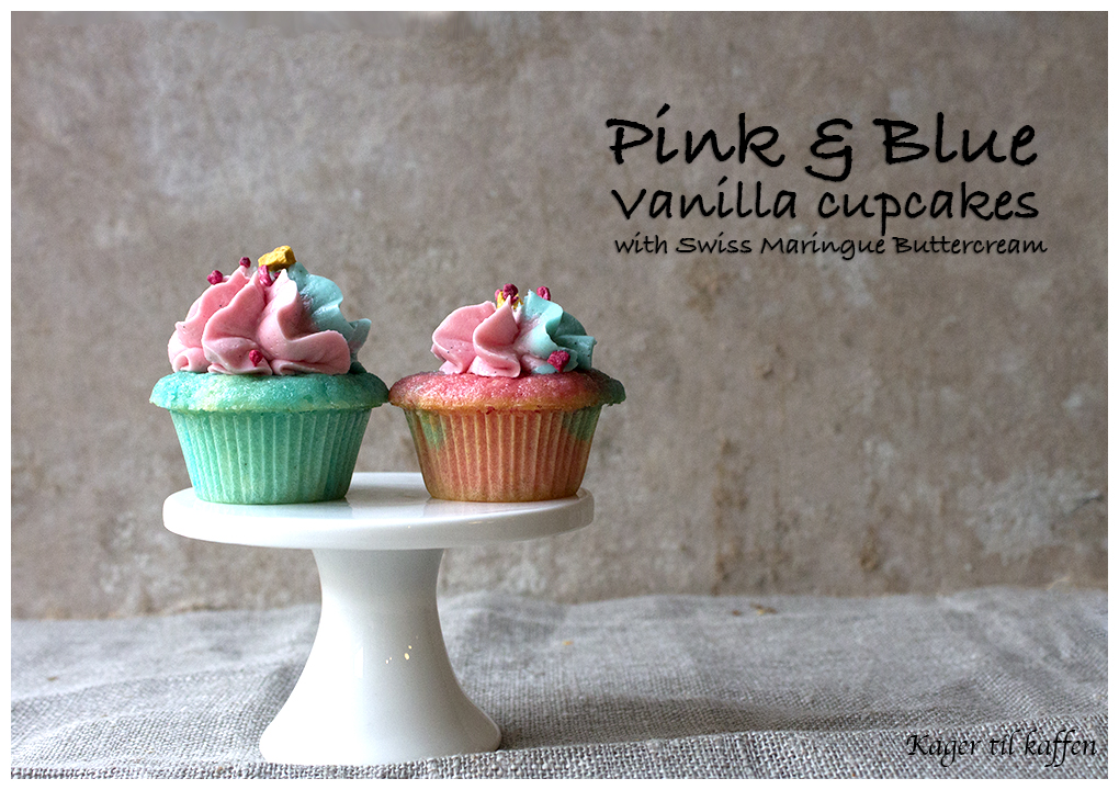Pink and blue cupcakes with SMBC